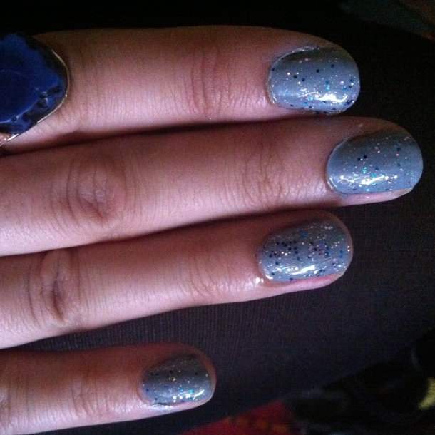 grey varnish with sparkles