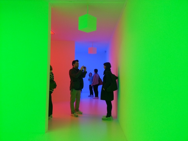 You can take pictures inside Chromosaturation by Carlos Cruz-Diez, so everyone was walking around taking pictures for instagram and Facebook. (I was no exception!)