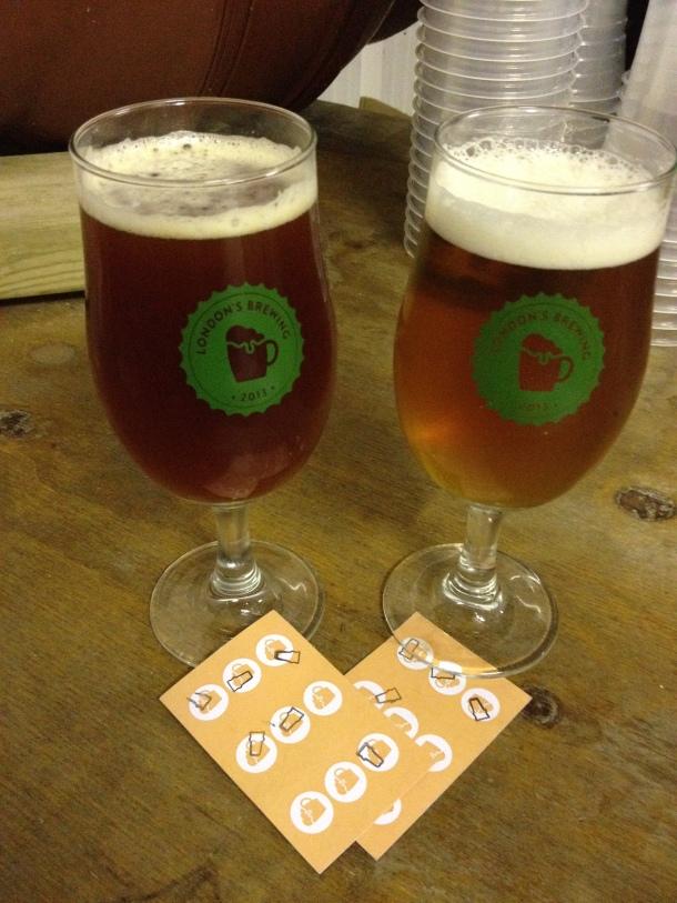 Sampling beers at London's Brewing.