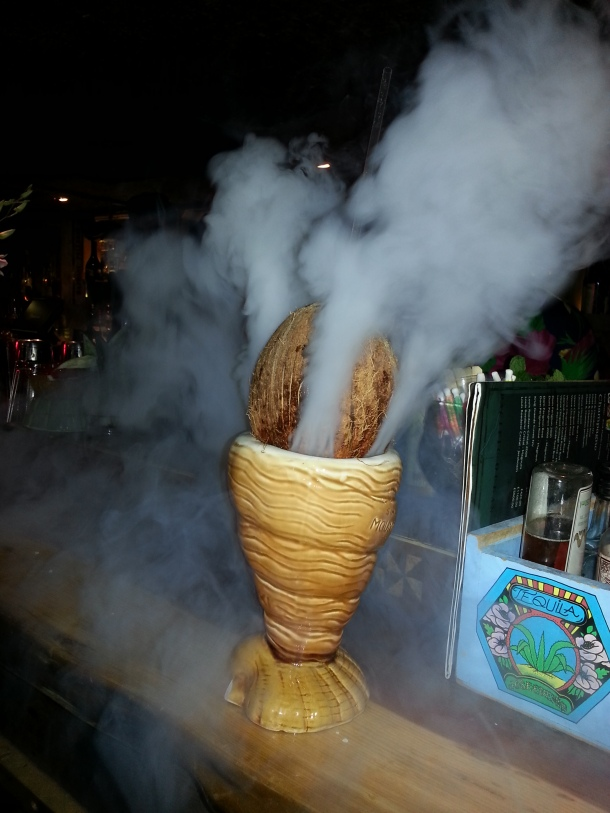 Coconut grenade cocktail at Mahiki.