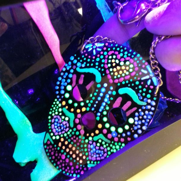 finished sugar skull under the black light