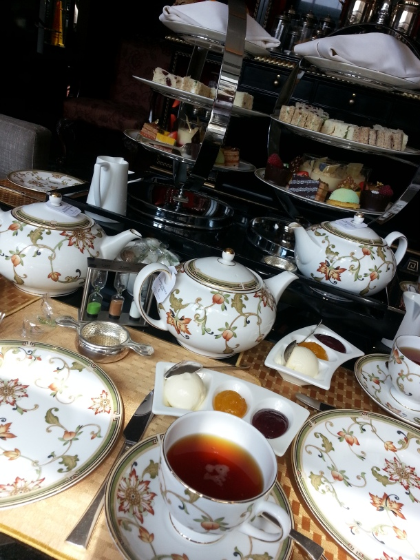 Tea and cakes at afternoon tea.