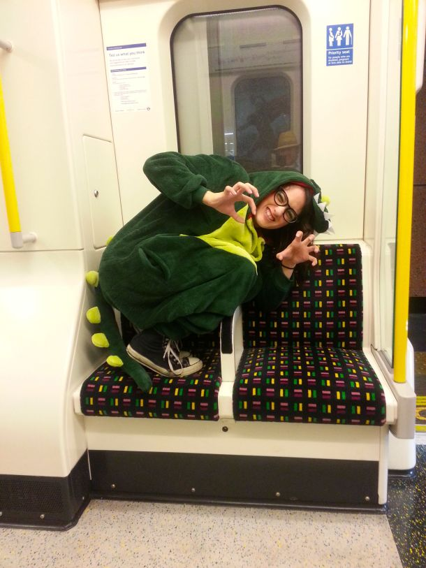 dressed as a katiesaurusrex, loose on the tube