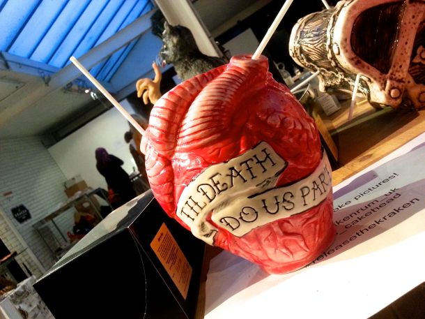 "ceramic hand-painted heart with ""till death do us part"" detiailing"