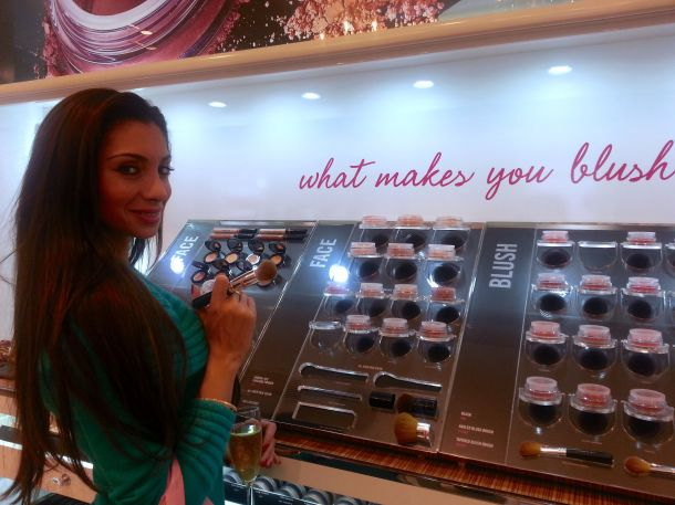 Mitra checking out the blushers...what makes you blush?