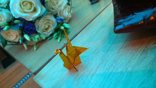 Origami cranes to decorate the table, folded and photographed by yours truly