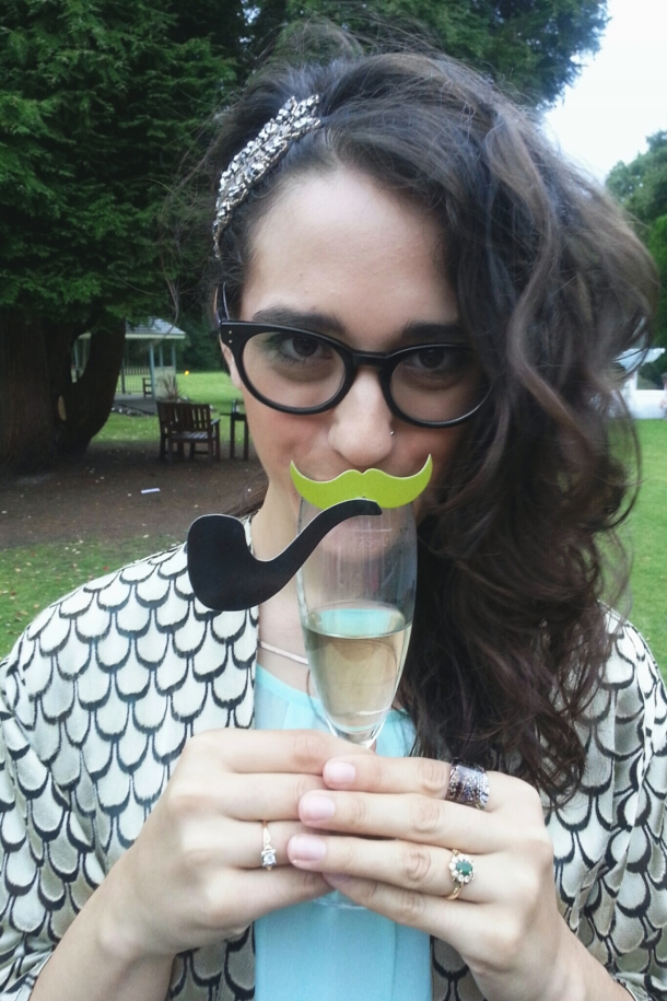 katie with a moustache and pipe
