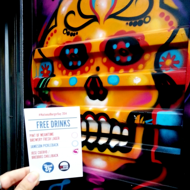 National Burger Day 2014 - Free drinks card with Jose Cuervo Skull