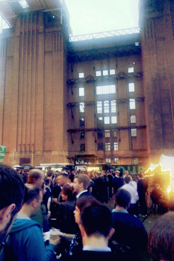 National Burger Day 2014 - Queueing for burgers by Battersea Power Station
