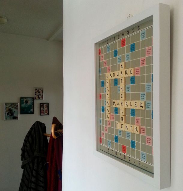 DIY Personalised Scrabble Board on the Wall
