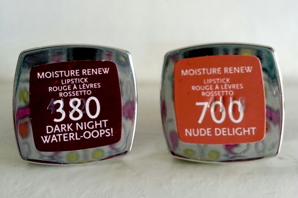 Rimmel London Moisture Renew Lipstick in Dark Night Waterl-oops! and Nude Delight 2