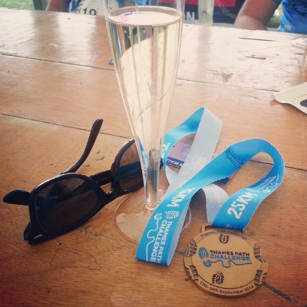 Thames Path Challenge Celebratory Champagne and Medal
