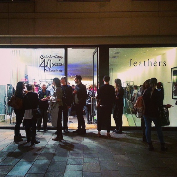 Outside Feathers in Knightsbridge at the Feathers 40 years party