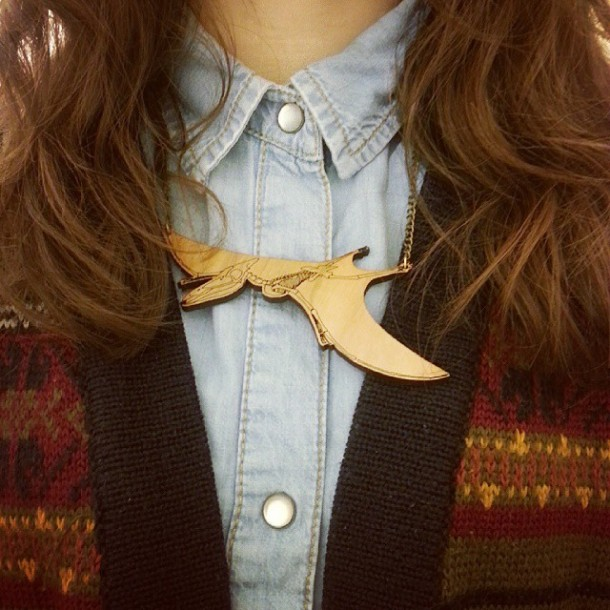 denim shirt with prerodactyl necklace by dinosaur yeah