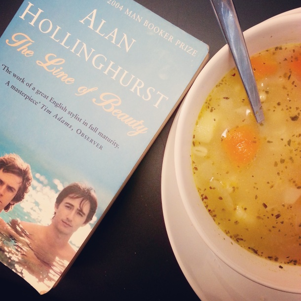 soup and a book for lunch