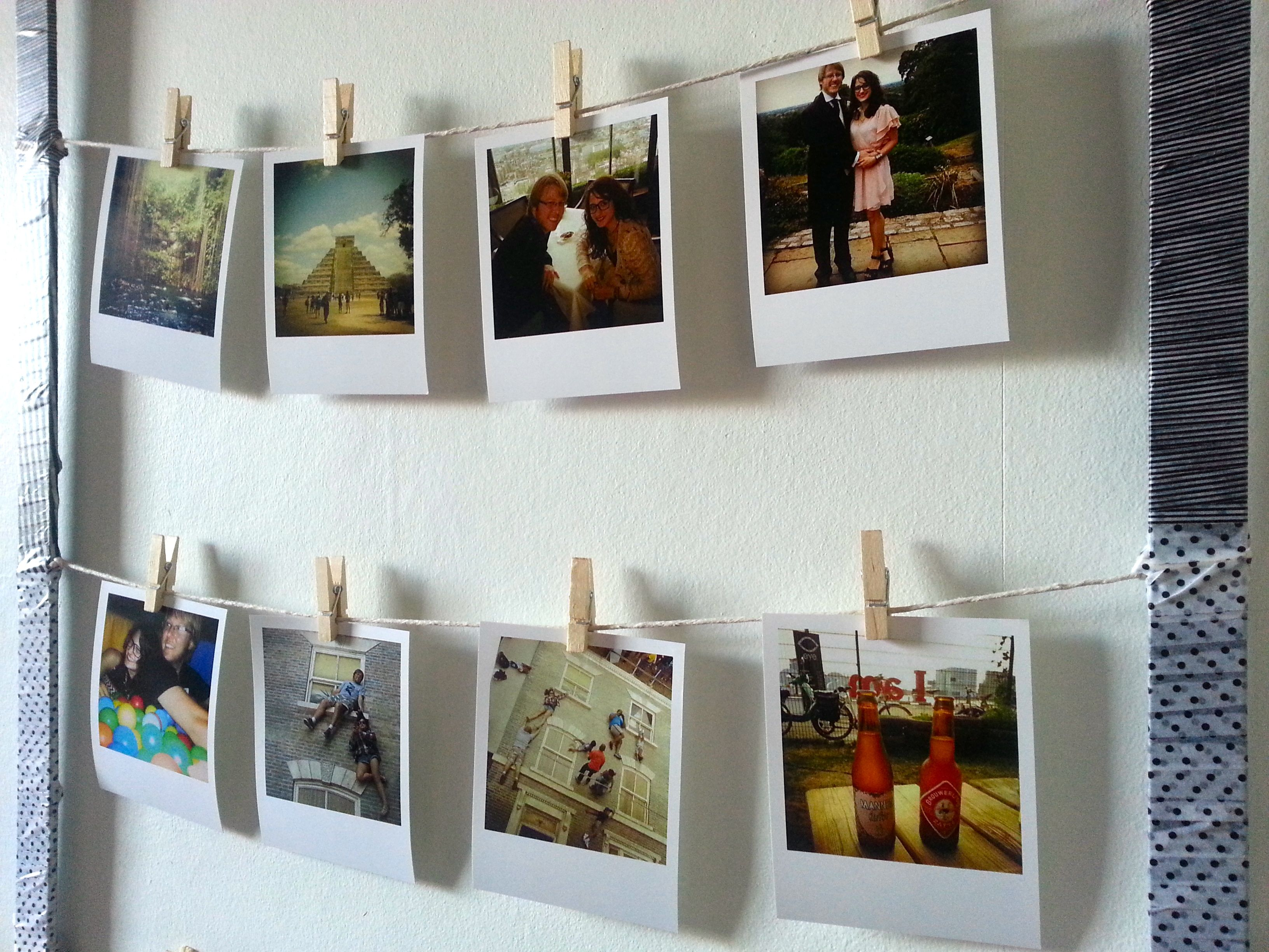 Diy pinterest inspired project for polaroid style picture for Hanging frames on walls