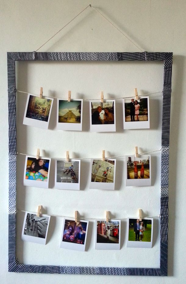 DIY frame with patterned tape to display polaroid style pictures finished version