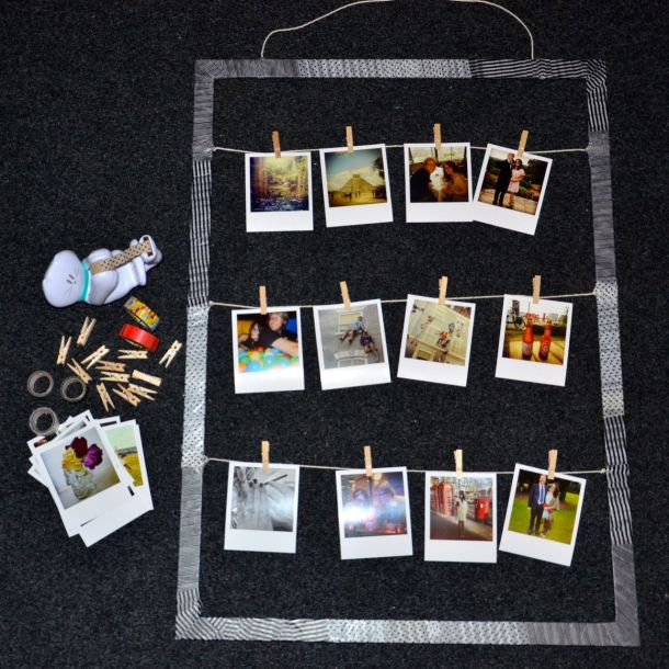 DIY frame with patterned tape to display polaroid style pictures11