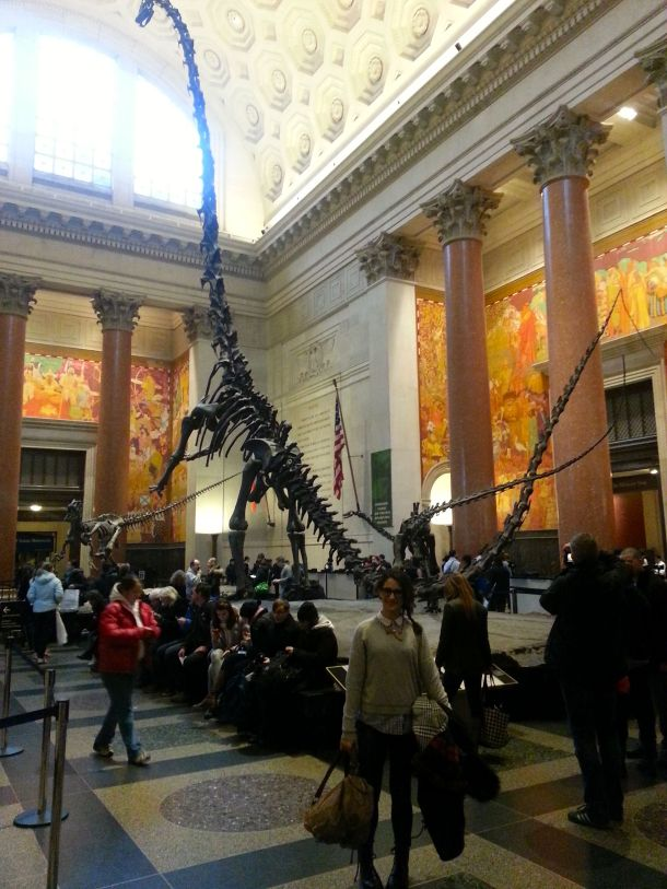 nyc american natural history museum katie with a dinosaur