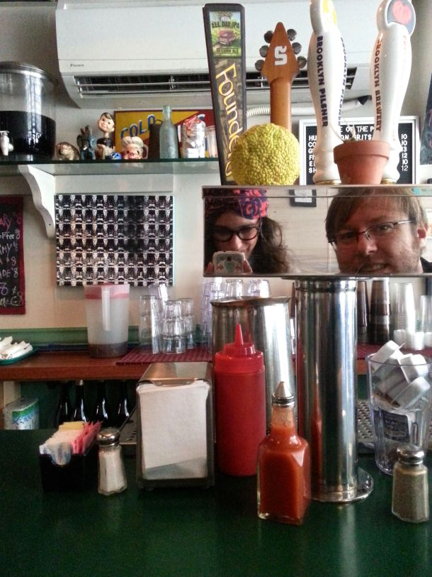 nyc brooklyn jimmys diner selfie at the counter 1