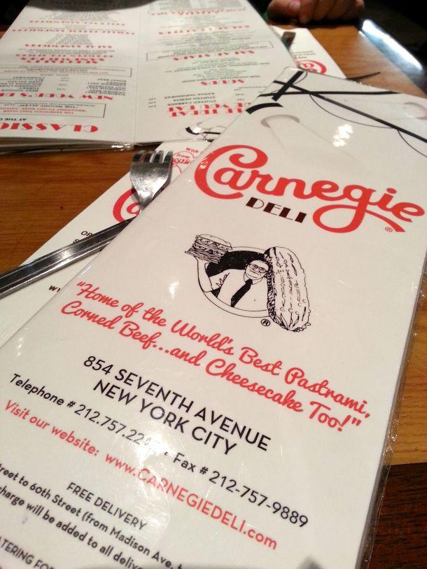 nyc carnegie deli menu