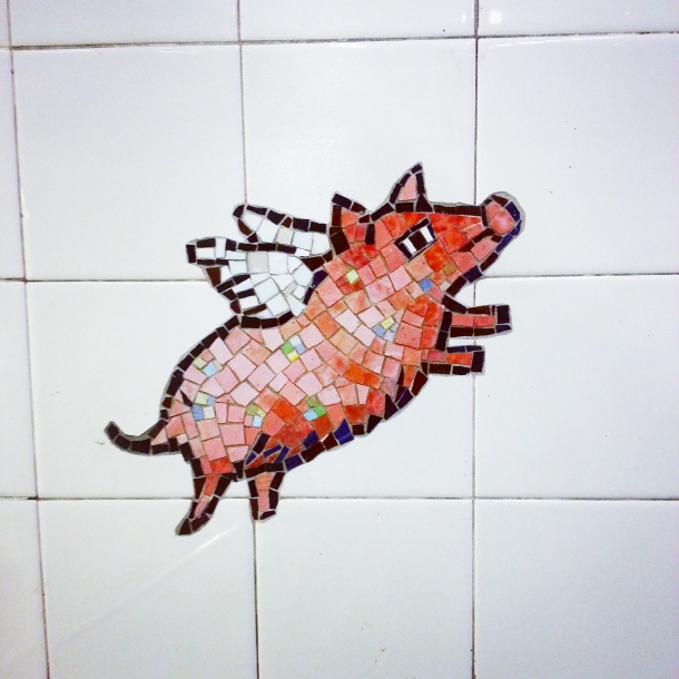 Spotted at 86th Street Metro Station - a flying pig in the tiles!