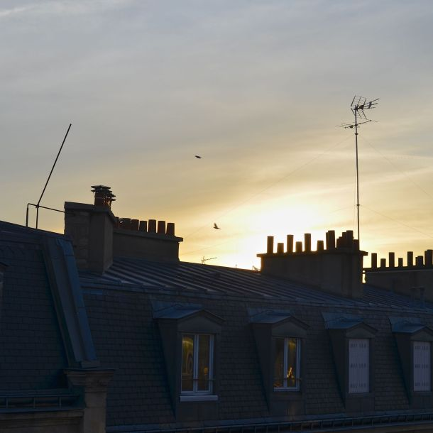 Paris Airbnb weekend travel view from the kitchen at sunrise