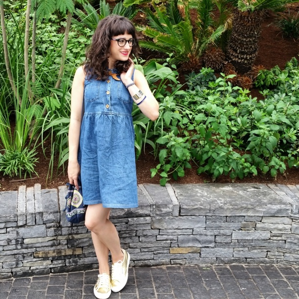 What I Wore Today - vintage denim sun dress with gold superga 2750s My Little Box x Antik Batik bag and Designosaur necklace 2