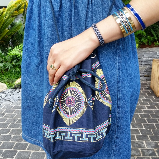 What I Wore Today - vintage denim sun dress with gold superga 2750s My Little Box x Antik Batik bag and Designosaur necklace 3