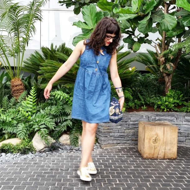 What I Wore Today - vintage denim sun dress with gold superga 2750s My Little Box x Antik Batik bag and Designosaur necklace 4