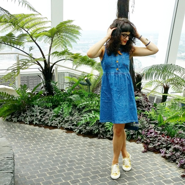 What I Wore Today - vintage denim sun dress with gold superga 2750s My Little Box x Antik Batik bag and Designosaur necklace 6