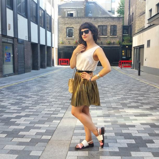 What I Wore - white v neck and gold skirt for summer 1