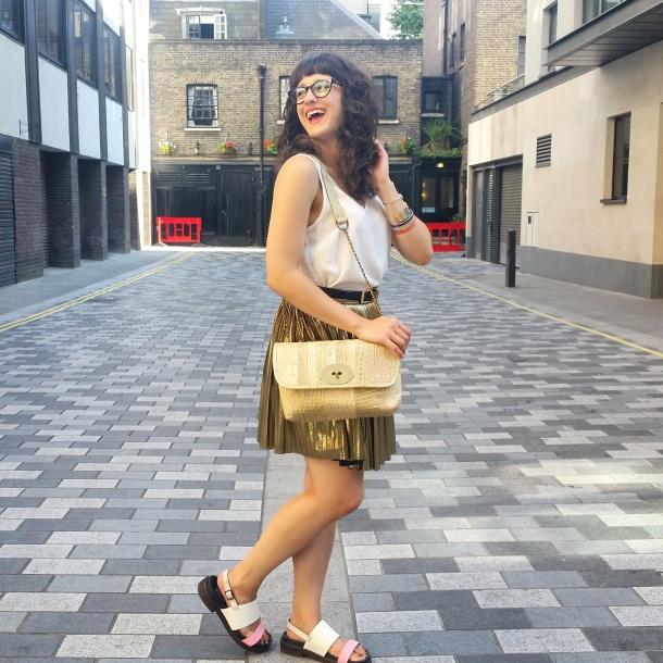 What I Wore - white v neck and gold skirt for summer 3