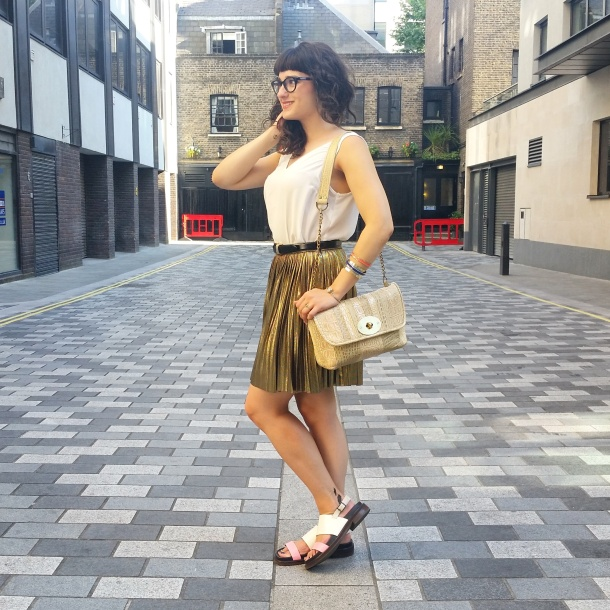 What I Wore - white v neck and gold skirt for summer 4