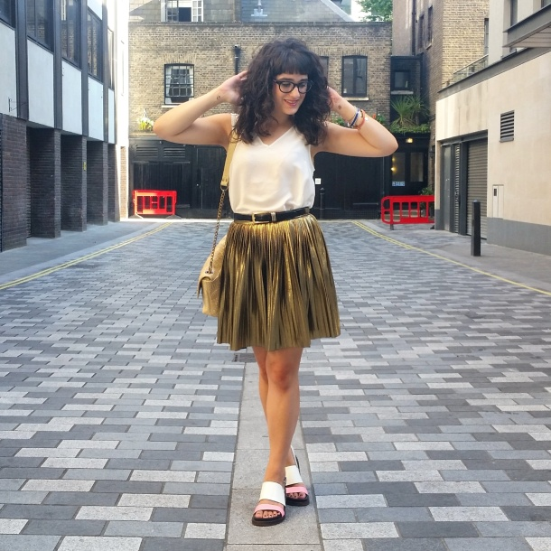 What I Wore - white v neck and gold skirt for summer 7