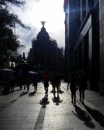 13 Metrolpolis in silhouette before sunset in Madrid