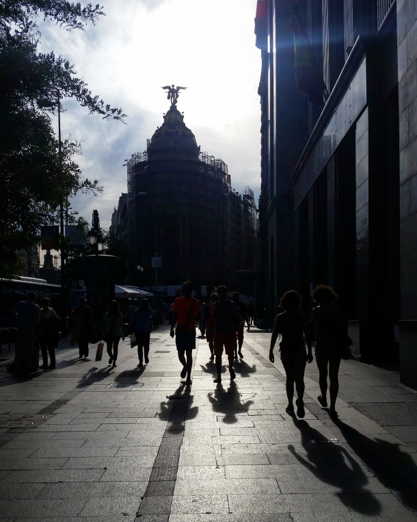 13 Metrolpolis in silhouette before sunset in Madrid