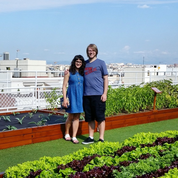 4 Jeff and me at the vegetable garden on the roof of Hotel Wellington