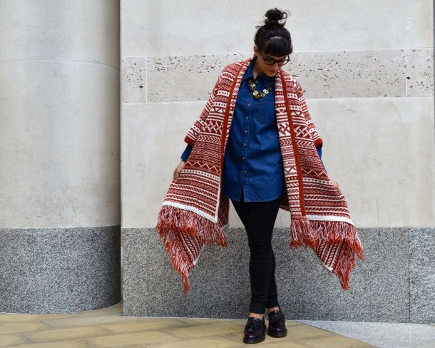 ASOS Pattern Cardigan in Maxi Drape Shape and ASOS Denim Boyfriend Shirt with Dr Martens Loafers and All Saints Jeans - Call Me Katie - 16