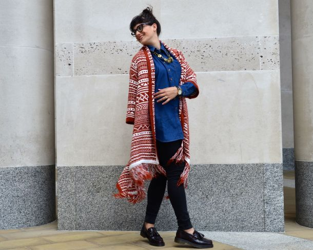ASOS Pattern Cardigan in Maxi Drape Shape and ASOS Denim Boyfriend Shirt with Dr Martens Loafers and All Saints Jeans - Call Me Katie - 21