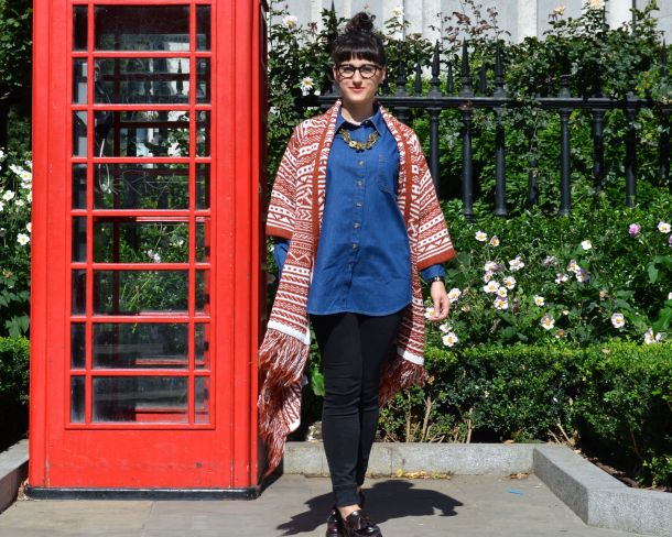 ASOS Pattern Cardigan in Maxi Drape Shape and ASOS Denim Boyfriend Shirt with Dr Martens Loafers and All Saints Jeans - Call Me Katie - 26