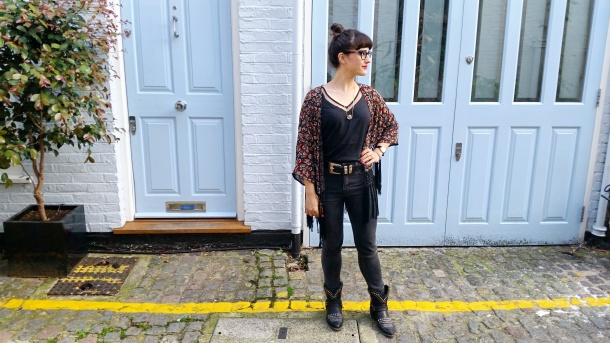 Call Me Katie - What I Wore - Ichi Marble Pendant Necklace, ASOS V neck vest top, All Saints high waist skinny jeans and cowgirl boots - 2