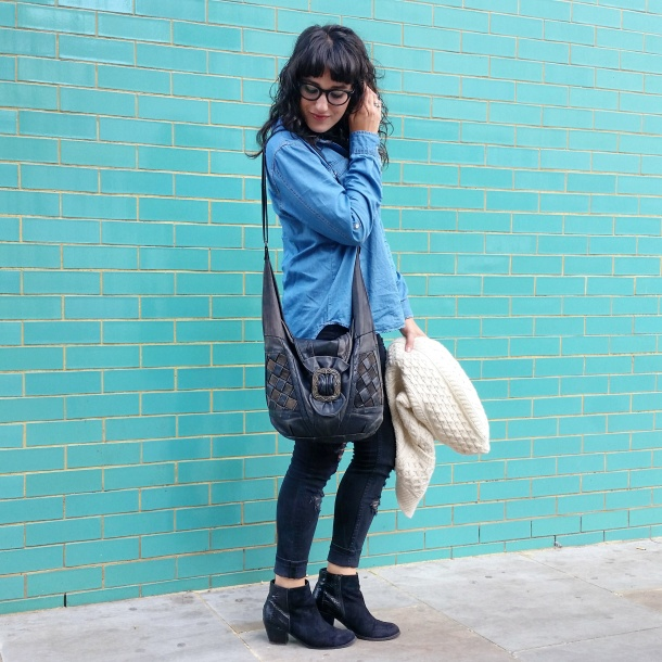 Call Me Katie - What I Wore - Ripped jeans, chambray shirt & knit cardigan 1