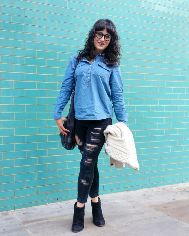 Call Me Katie - What I Wore - Ripped jeans, chambray shirt & knit cardigan 10