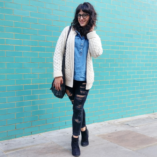 Call Me Katie - What I Wore - Ripped jeans, chambray shirt & knit cardigan 2