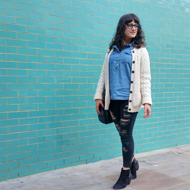 Call Me Katie - What I Wore - Ripped jeans, chambray shirt & knit cardigan 3