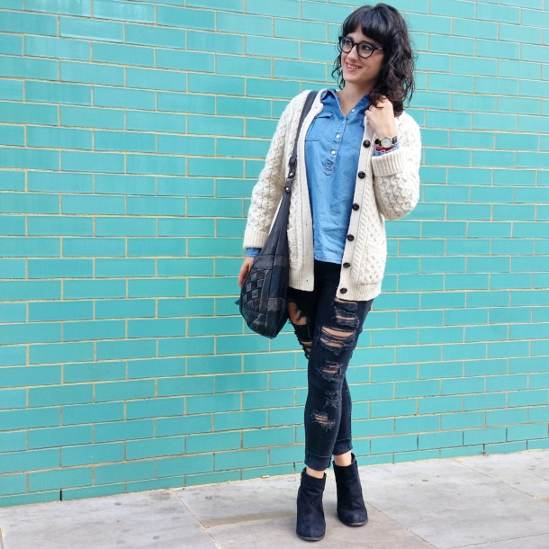 Call Me Katie - What I Wore - Ripped jeans, chambray shirt & knit cardigan 4