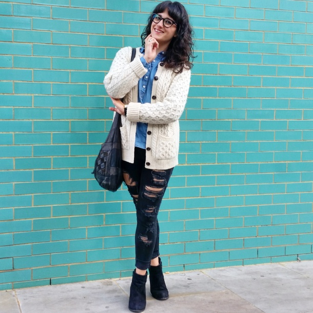 Call Me Katie - What I Wore - Ripped jeans, chambray shirt & knit cardigan 5