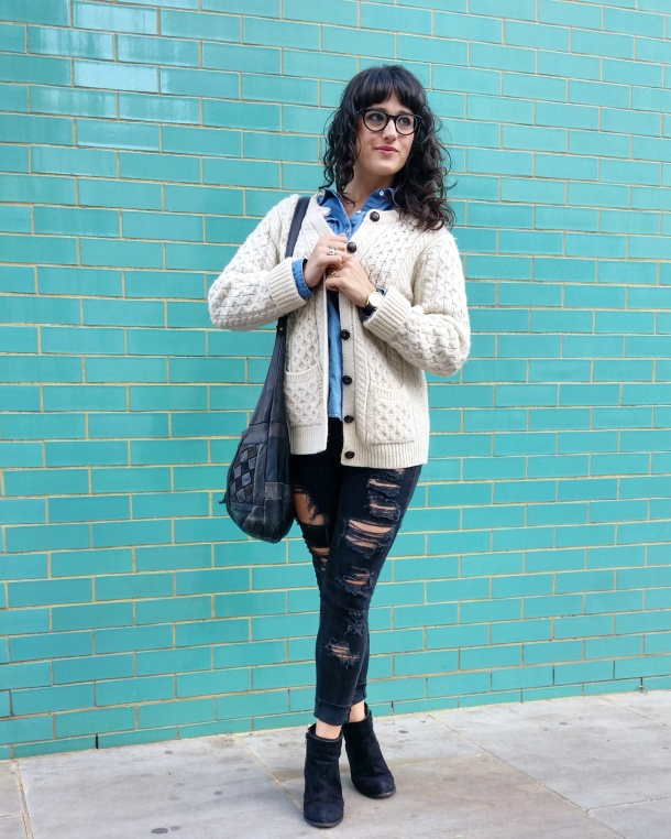 Call Me Katie - What I Wore - Ripped jeans, chambray shirt & knit cardigan 6