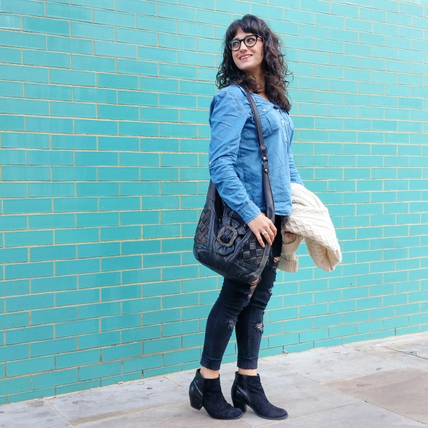 Call Me Katie - What I Wore - Ripped jeans, chambray shirt & knit cardigan 7